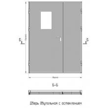 Дверь противопожарная двупольная EI60 со стеклом